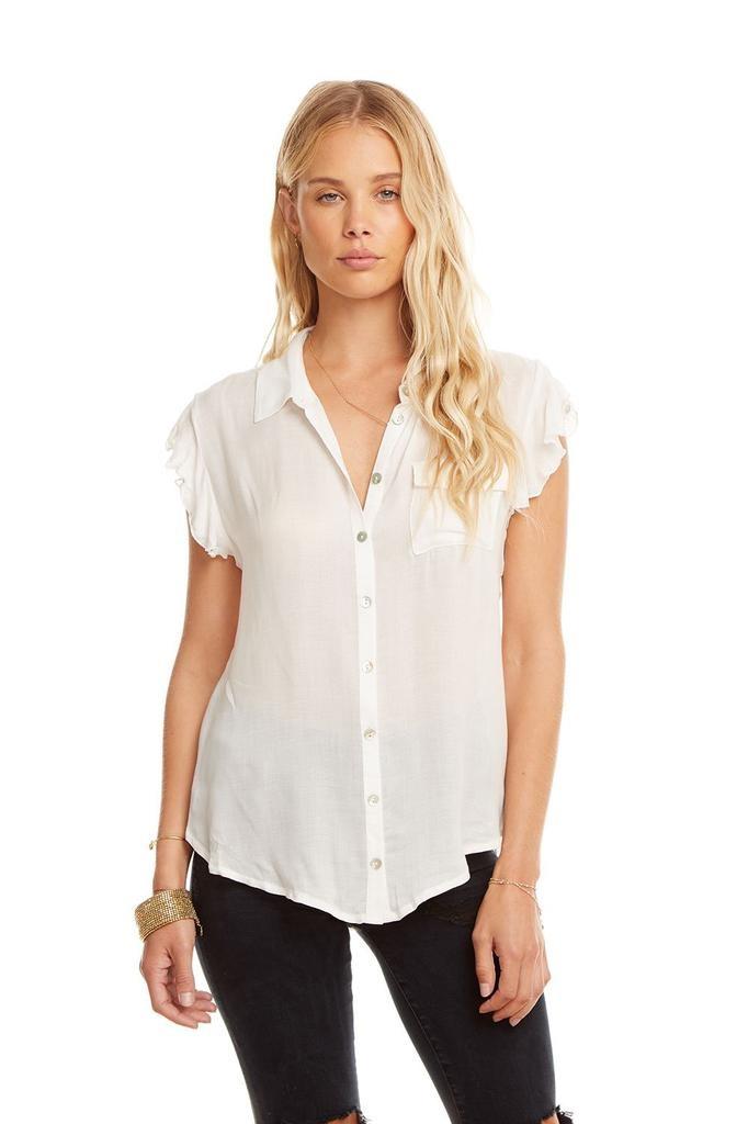 Designer Flutter Sleeves Button Down Shirt