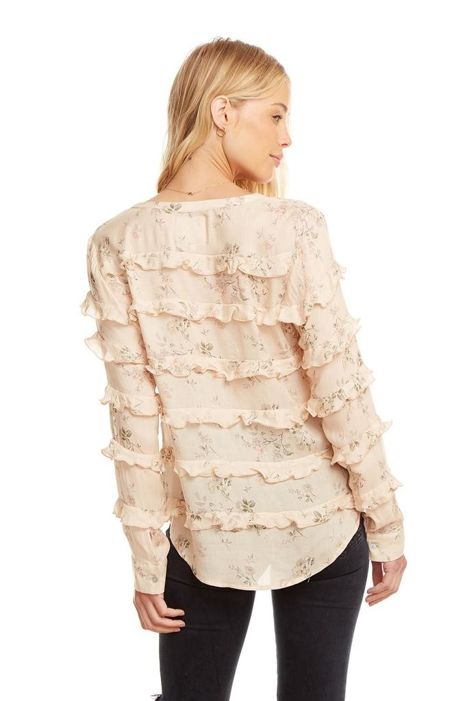 Designer L/s Ruffle Button Down Shirt