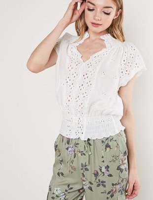 tops Embroidered Lace Top