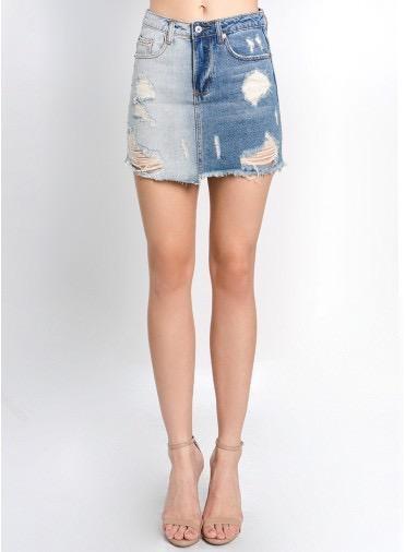 Skirt 2 Tone Destroyed Mini Skirt