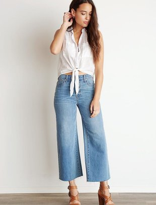 tops S/L Frayed Tie Up Button Down