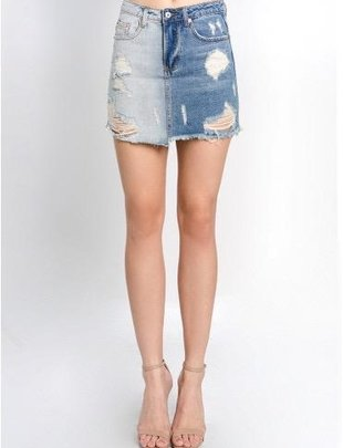 2 Tone Destroyed Mini Skirt