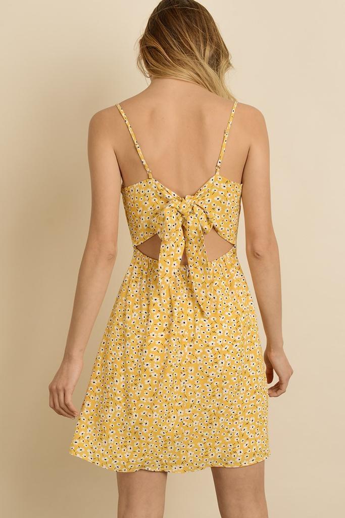 Gian Flower Tie-Back Mini Dress