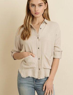 Carina Fringed Hem Shirt