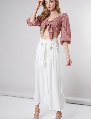 Eva Ribbon Belt Wide Pants
