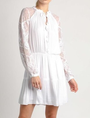 Mini Pleated Dress W/Lace Sleeves