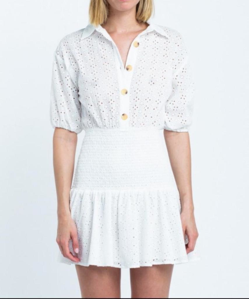 Eyelet Smocked Mini Dress
