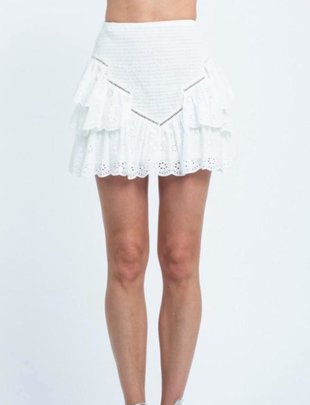 Eyelet Ruffle Mini Skirt