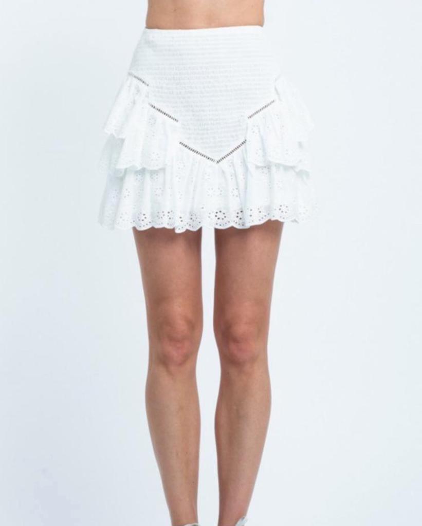 Eyelet Ruffle Mini Skirt
