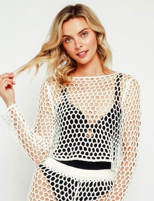 L/s Crochet Cover Up Top