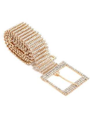 Belts Rhinestone Chain Buckle Belt