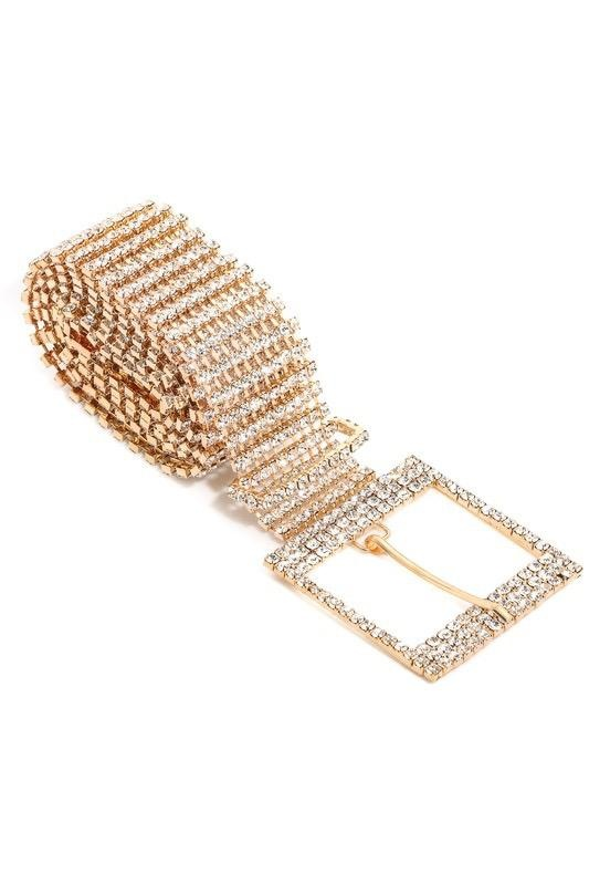 Belts Rhinestone Chain Buckle Belt
