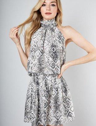 Mock Snake Print Dress