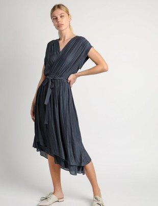 Striped Surplice Midi Dress