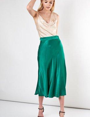 Satin Long Flare Skirt