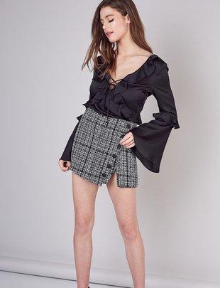 Button Detail Tweed Skirt
