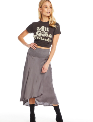 Silky Smocked Waist Midi Skirt