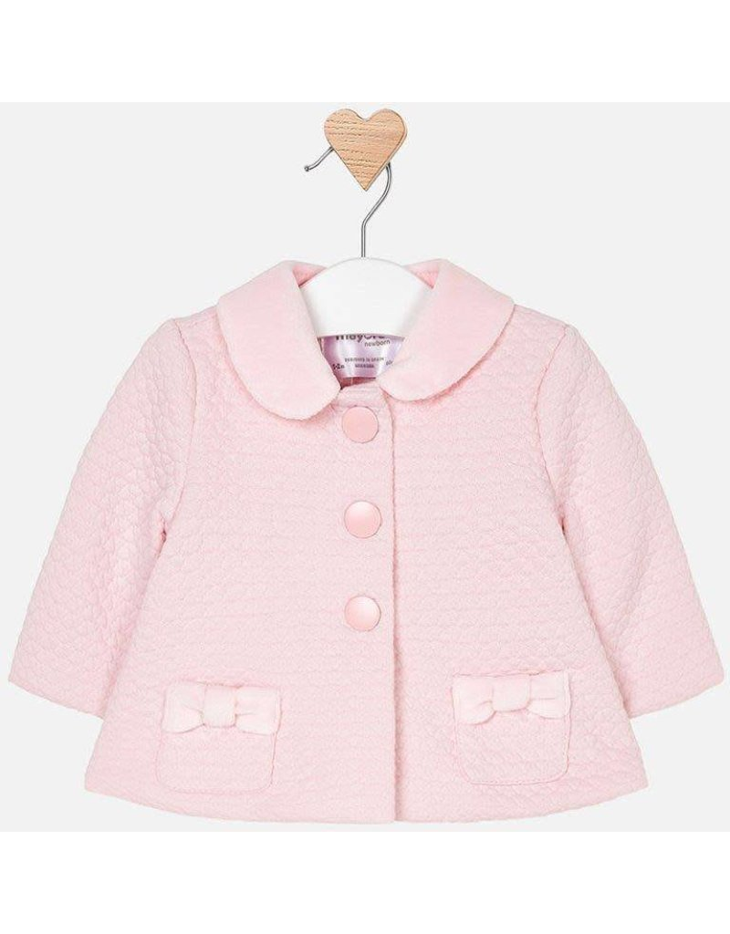 Coat, Detachable Collar, Pink