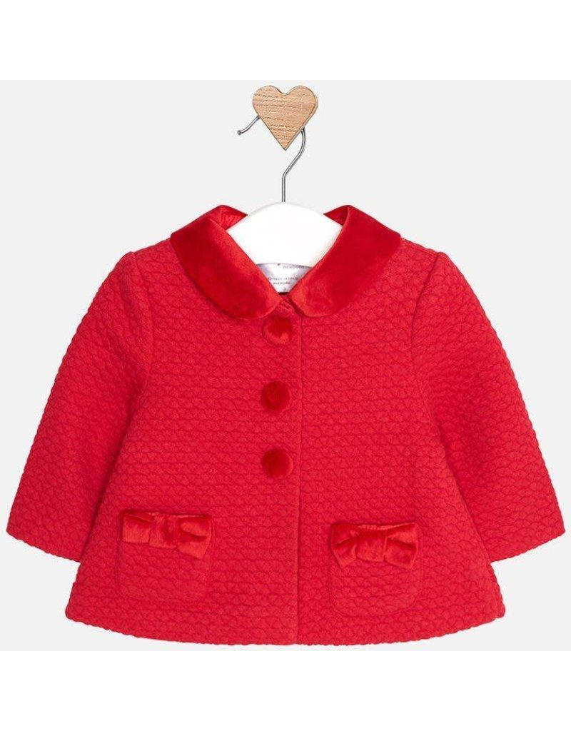 Coat, Detachable Collar, Red