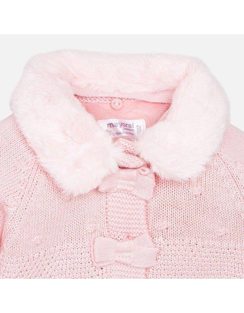 Coat w/ Bonnett, Knit, Detachable Collar