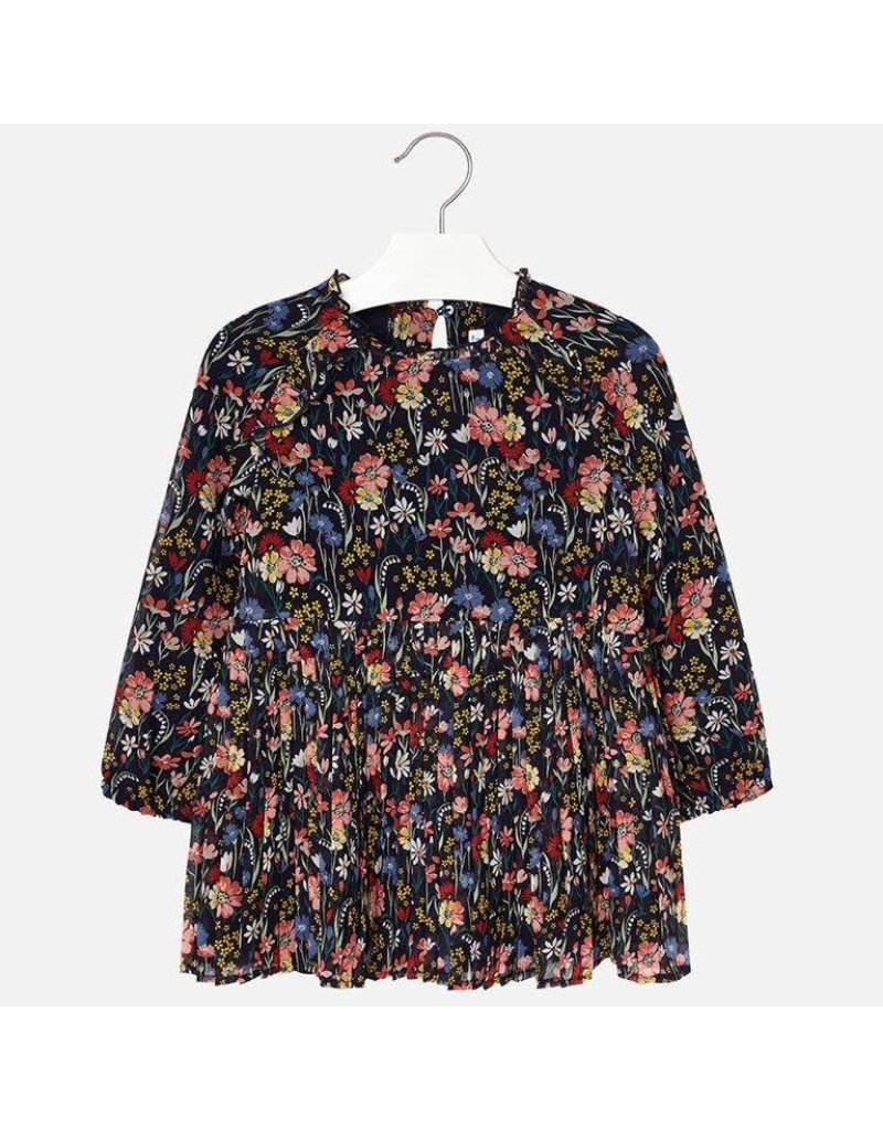 Dress, Floral Pleated