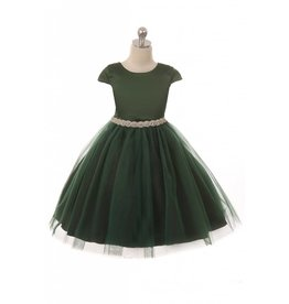 Dress, Cap Sleeve, Satin w/Tulle Skirt