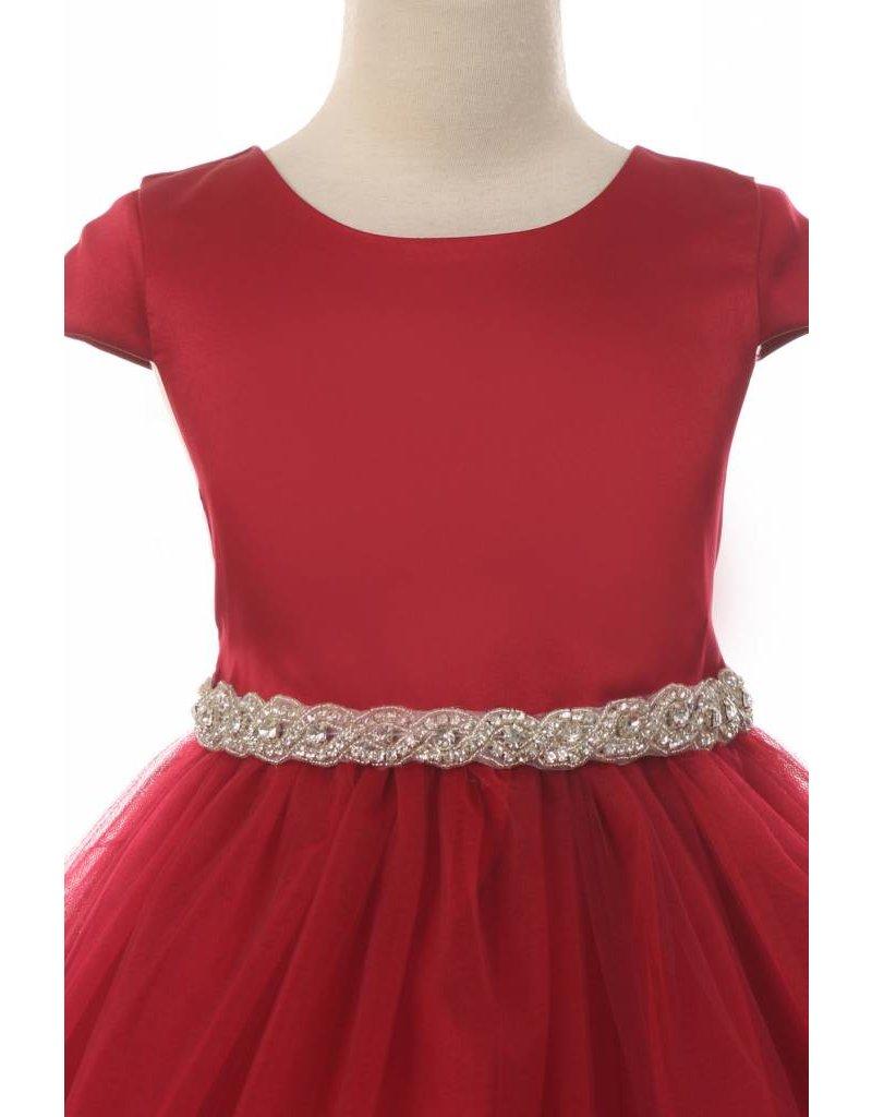 Dress, Cap Sleeve, Satin w/Tulle Skirt
