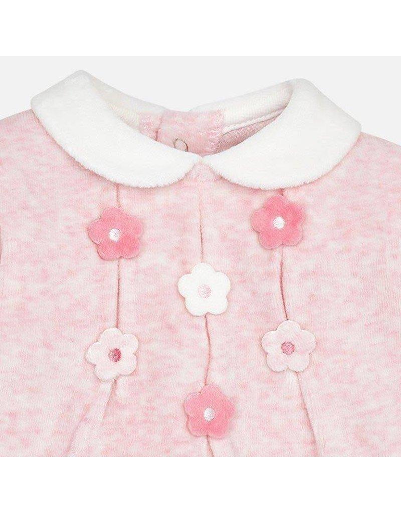 Footie, Velour, Flowers, Pink