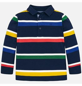 Polo, L/S, Multi Color Stripe