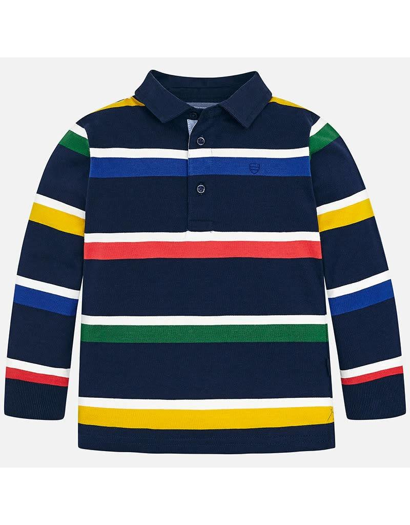Polo, L/S, Multi Color Stripe