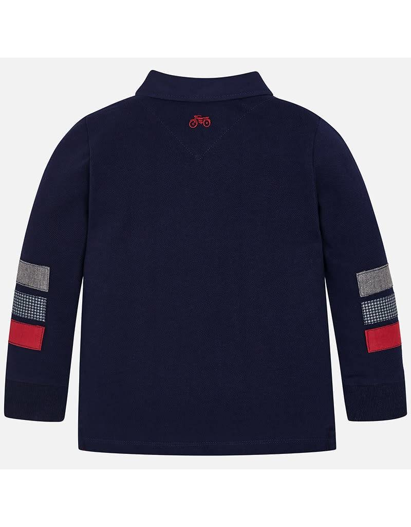 Polo, L/S, Houndstooth Trim, Navy