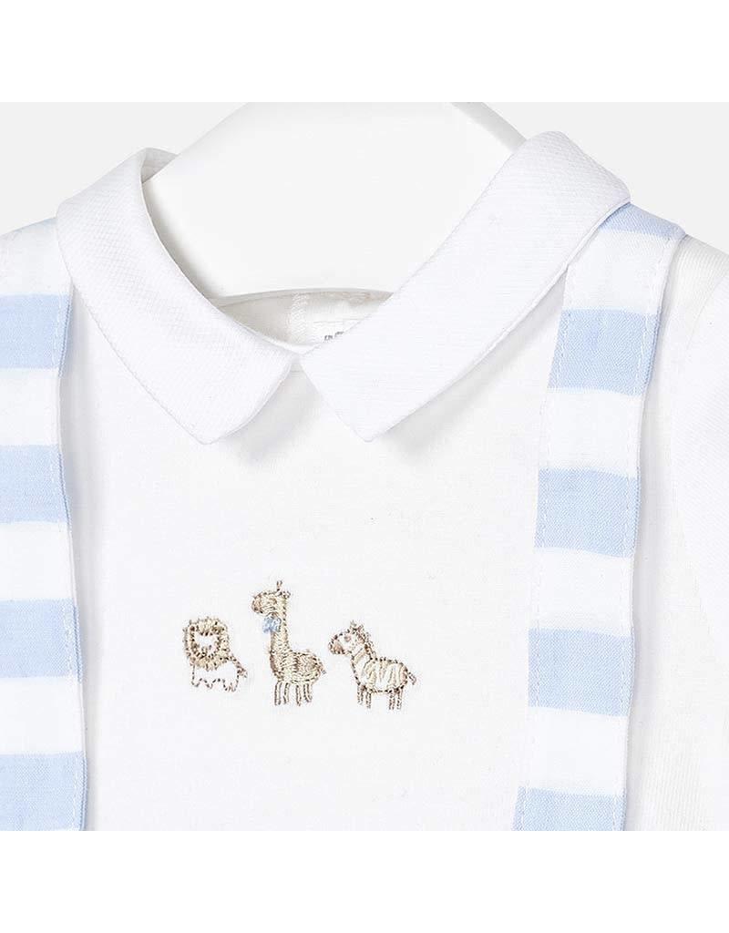 Romper, Embroidered Safari, Lt Blue/White