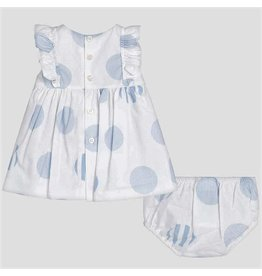 Dress w/Bloomer, White/Blue Polka Dot,
