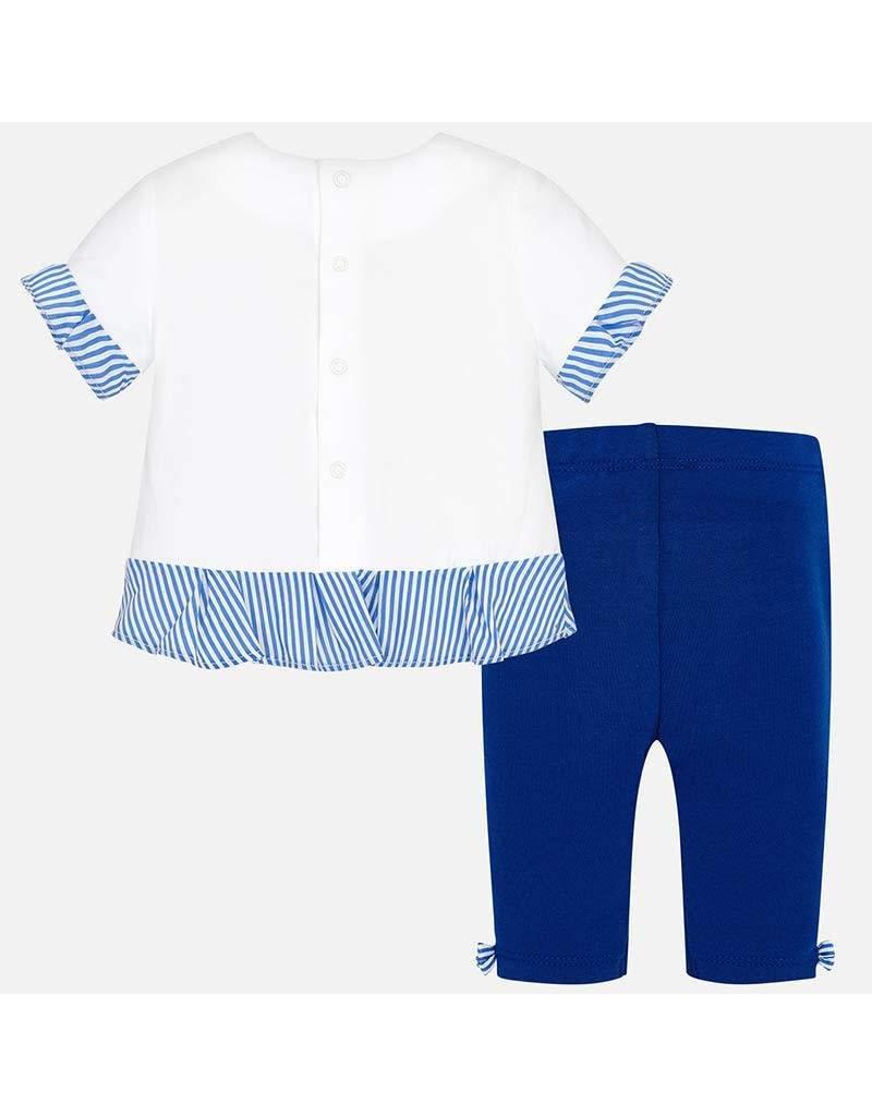 Shirt w/Legging, Flowers/Royal,