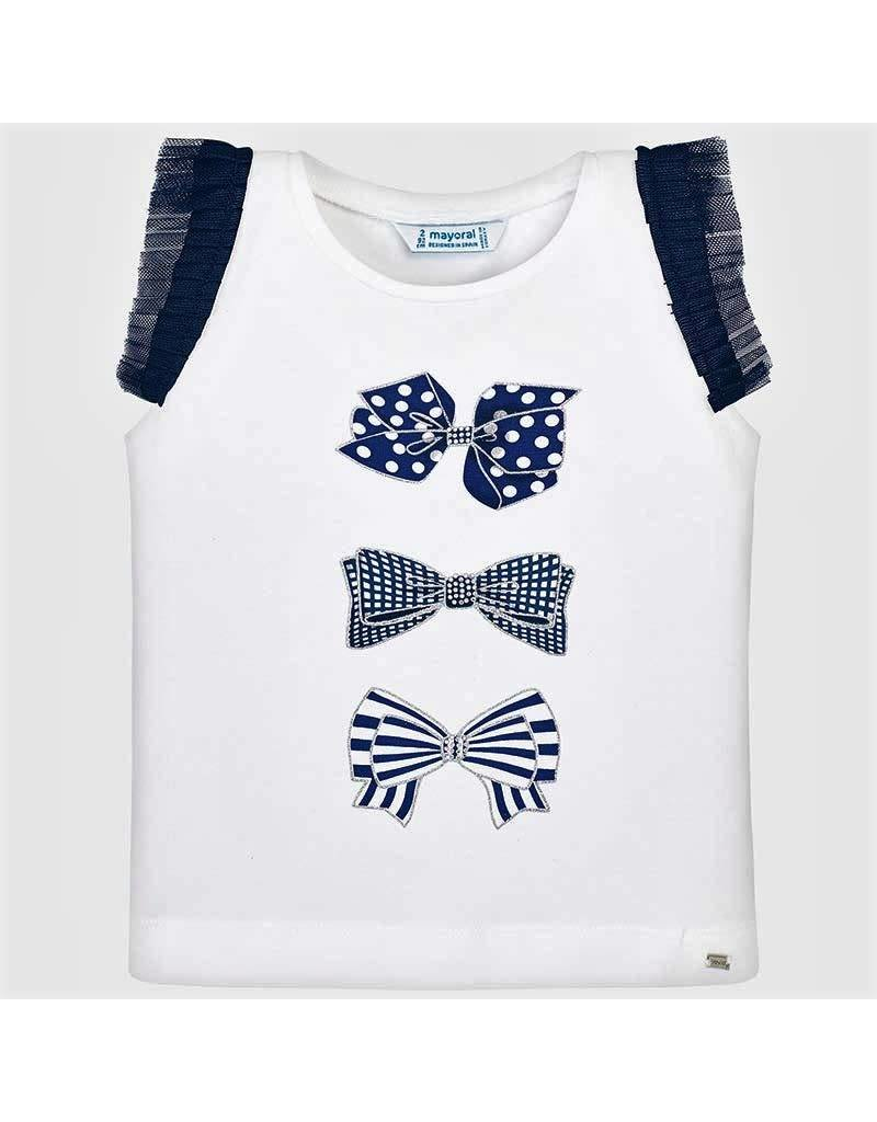 Tee w/Shorts, Bow/Dot, Navy,