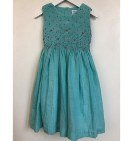 Luli & Me Dress, Smocked Floral, Turquoise,