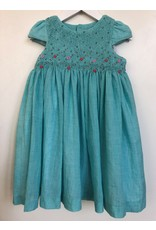 Luli & Me Dress wHeadband, Smocked, Cap Sleeve, Turquoise,