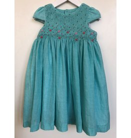 Luli & Me Dress wHeadband, Smocked, Cap Sleeve, Turquoise,