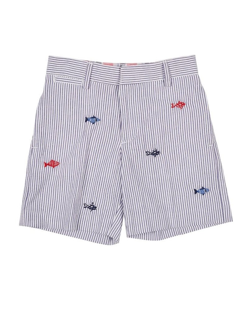 Shorts, Seersucker, Embroidered Fish, FE,