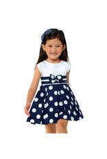 Dress, Navy Polka Dot/Bow,