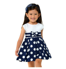 Dress, Navy Polka Dot/Bow,