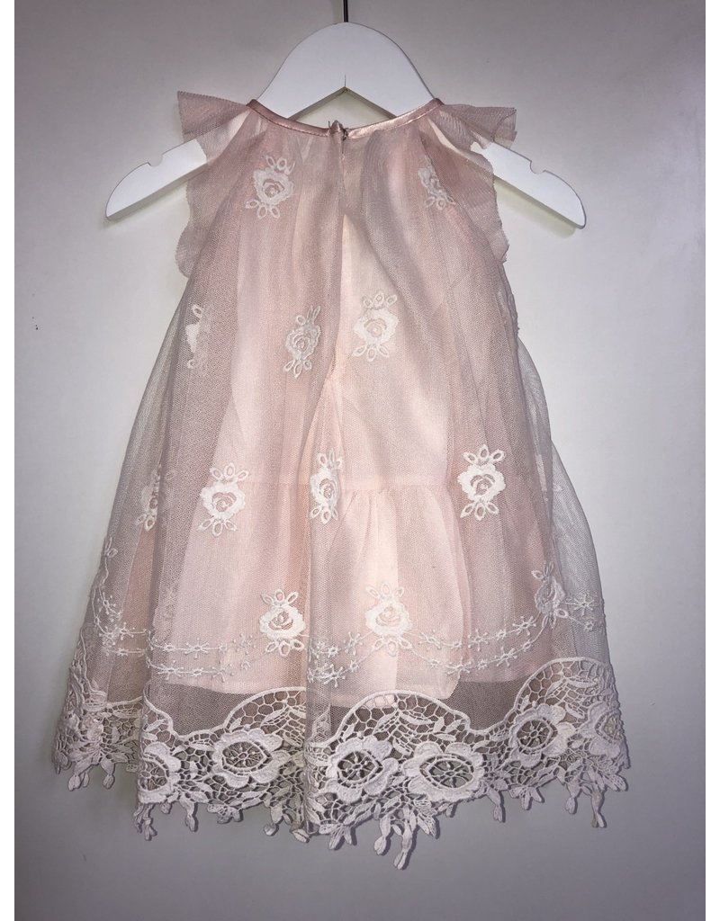 Biscotti/Kate Mack Dress, Tulle Overlay w/Lace, Pink,