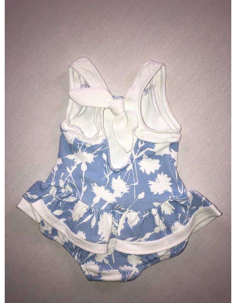Swimsuit, Blue Floral, Skirted,