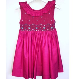 Luli & Me Dress, Smocked w/Ruffle Collar, Fuschia,