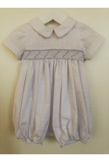 Luli & Me Bubble w/Collar, Smocked, White,