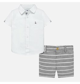Shirt w/Shorts, Linen/Gray Stripe,