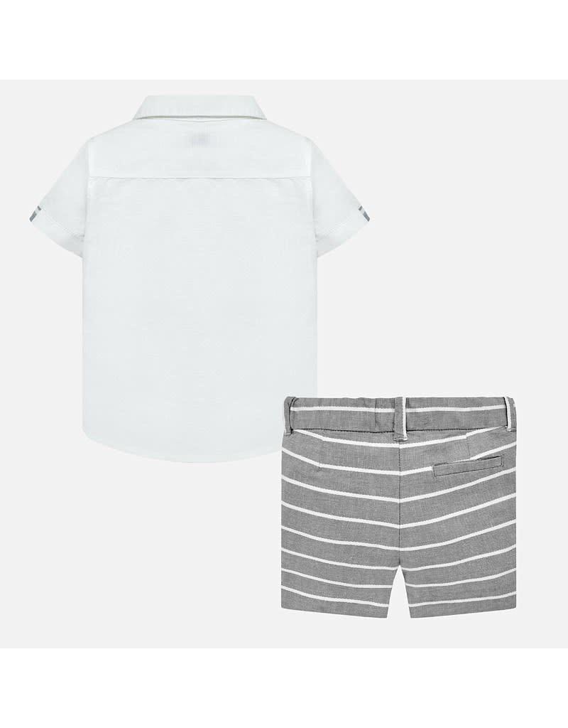 Shirt w/Shorts, Linen/Gray Stripe,