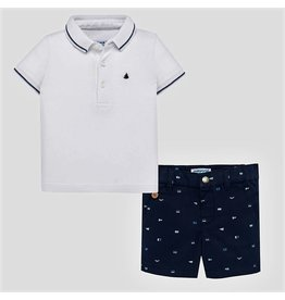 Polo w/Shorts, White/Navy,