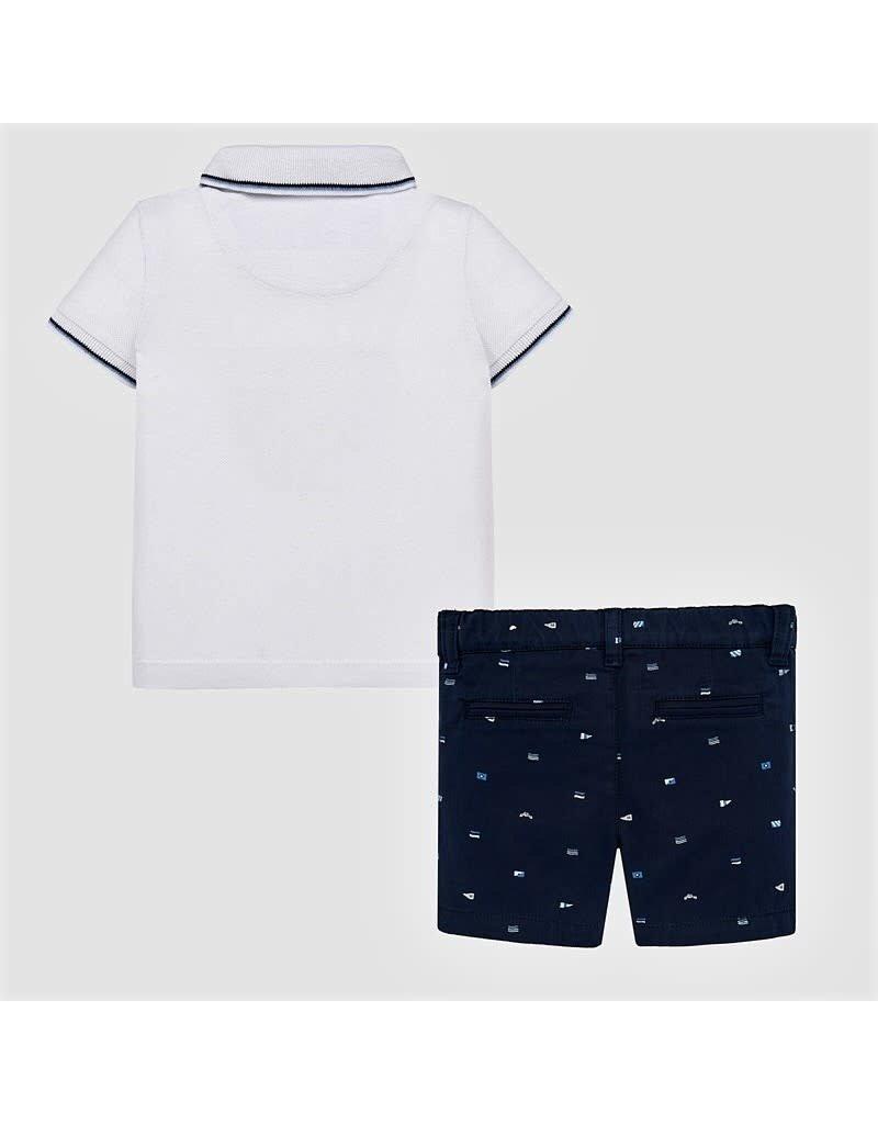 Polo w/Shorts, White/Navy,