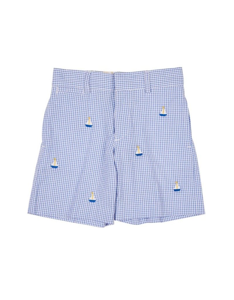 Shorts, Check, Embroidered Boats,
